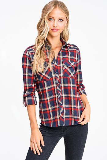 $15 - Cute cheap black ribbed knit surplice faux wrap long slit sleeve wrist tie boho top - Navy blue red plaid flannel long sleeve button up blouse top