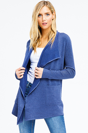 $20 - Cute cheap blue washed denim mid rise distressed frayed ripped skinny fit jeans - navy blue ribbed knit long sleeve draped collar pocketed open front cardigan