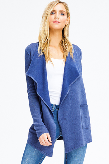 $15 - Cute cheap navy blue long sleeve blouse - navy blue ribbed knit long sleeve draped collar pocketed open front cardigan