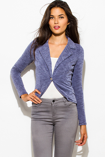 $15 - Cute cheap dark blue denim ripped distressed mid rise fitted skinny jeans - navy blue ribbed textured single button fitted blazer jacket top