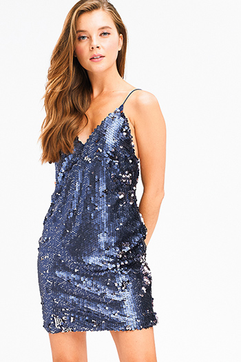 $20 - Cute cheap ribbed sexy club mini dress - Navy blue rose gold sequined metallic v neck party club backless tank mini dress