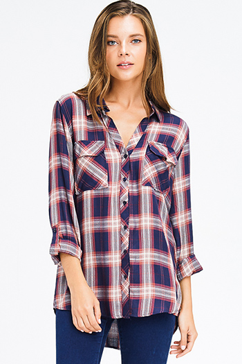 $16 - Cute cheap black pinstripe collarless short cuffed cap sleeve zip up blouse top - navy blue rust plaid pocket front button long sleeve up boho blouse top