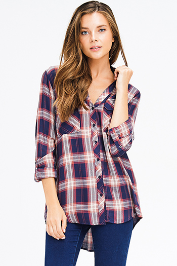 $18 - Cute cheap cold shoulder blouse - navy blue rust plaid pocket front button long sleeve up boho blouse top