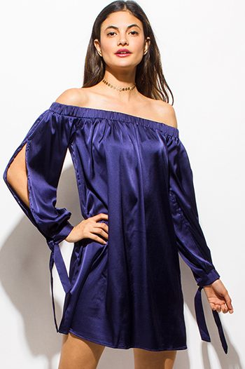 $15 - Cute cheap bright white draped dolman sleeve belted fitted sexy party mini dress - navy blue satin off shoulder long split sleeve boho cocktail party shift mini dress