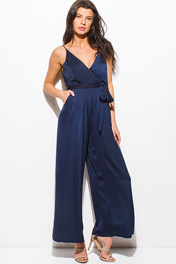 $20 - Cute cheap ruched jumpsuit - navy blue satin sleeveless v neck faux wrap surplice backless pocketed wide leg evening jumpsuit