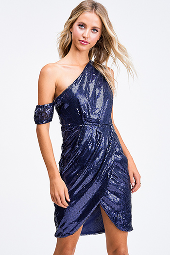$15 - Cute cheap ribbed slit sexy club dress - Navy blue sequin one shoulder faux wrap evening cocktail party tulip mini dress