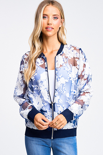$15 - Cute cheap print ruffle boho romper - Navy blue sheer floral print zip up boho bomber jacket
