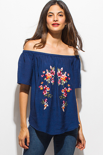 $20 - Cute cheap blue sheer sexy party top - navy blue short sleeve off shoulder floral embroidered boho top