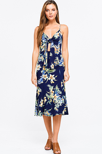 $20 - Cute cheap chambray ruffle dress - Navy blue sleeveless tropical floral print cut out tie front boho pencil midi sun dress
