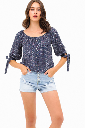 $20 - Cute cheap white denim long sleeve button up lined pocketed jean jacket - Navy blue speckle print off shoulder quarter tie sleeve button trim boho blouse top
