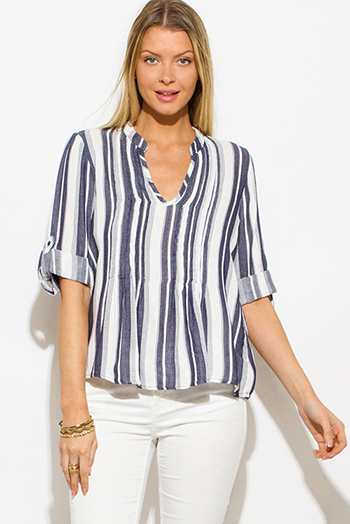 $15 - Cute cheap blue sheer sexy club top - navy blue striped indian collar quarter sleeve resort boho peasant blouse top