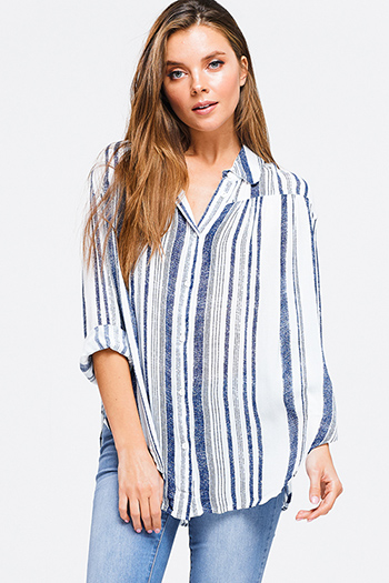 $15 - Cute cheap boho quarter sleeve jumpsuit - Navy blue striped long sleeve button up boho resort blouse top