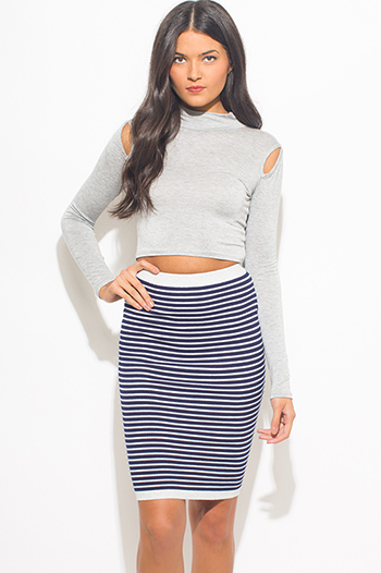 $15 - Cute cheap dark blue denim high waisted button up boho midi skirt - navy blue striped ribbed knit fitted midi pencil skirt