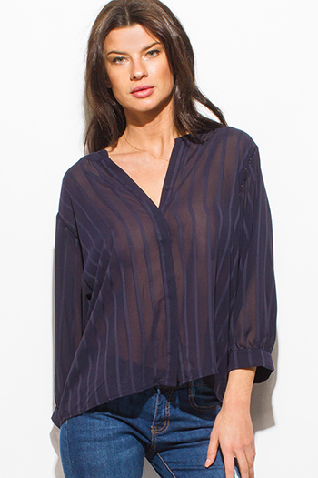 $10 - Cute cheap blue pinstripe rose patch ruffle tiered strapless boho tunic top - navy blue striped semi sheer chiffon indian collar long sleeve button up boho blouse top