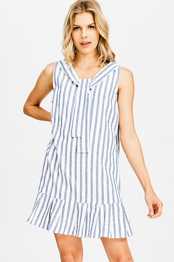 $15 - Cute cheap blue pinstripe rose patch ruffle tiered strapless boho tunic top - navy blue striped sleeveless tie neck tiered boho resort shift mini sun dress