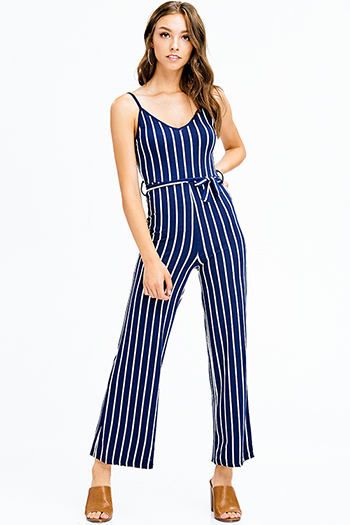$12 - Cute cheap mauve pink ruffle one shoulder strapless pocketed party sexy club harem jumpsuit - navy blue striped sleeveless tie waist wide leg party club jumpsuit