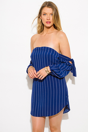 $15 - Cute cheap belted dress - navy blue striped strapless off shoulder sleeve tie boho mini sun dress