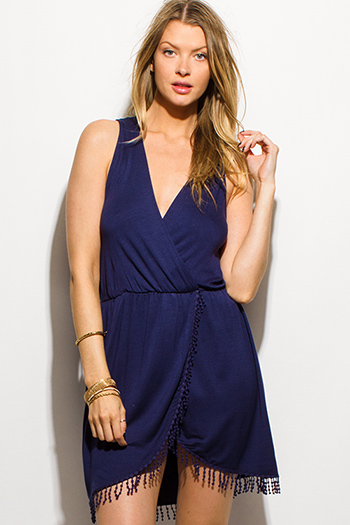 $15 - Cute cheap blue mini dress - navy blue surplice sleeveless faux wrap tulip skirt fringe hem boho mini sun dress