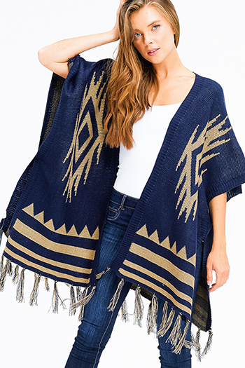 $25 - Cute cheap asymmetrical sweater - navy blue sweater knit ethnic print tassel fringe trim boho shawl poncho cardigan jacket