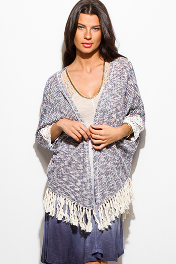 $15 - Cute cheap multi color knit off shoulder fringe trim boho sweater tunic top - navy blue sweater knit sheer crochet lace fringe trim open front shawl boho cardigan jacket
