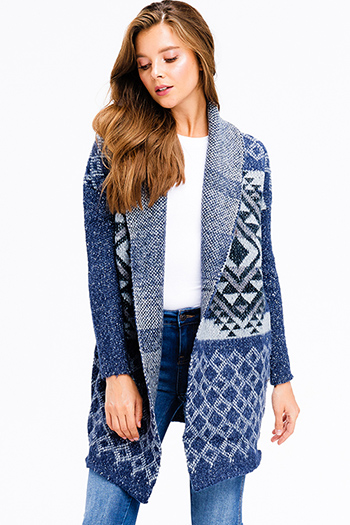 $35 - Cute cheap open back fitted catsuit - navy blue thick knit ethnic print pocketed open front shawl collar boho sweater cardigan