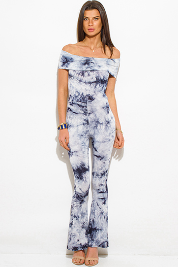 $20 - Cute cheap off shoulder pocketed jumpsuit - navy blue tie dye boho off shoulder flare leg sexy clubbing catsuit jumpsuit