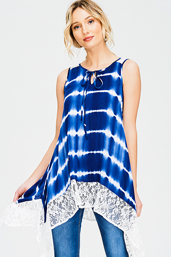 $15 - Cute cheap sun graphic print crop tank top - navy blue tie dye sheer lace trim sleeveless boho tunic top mini dress
