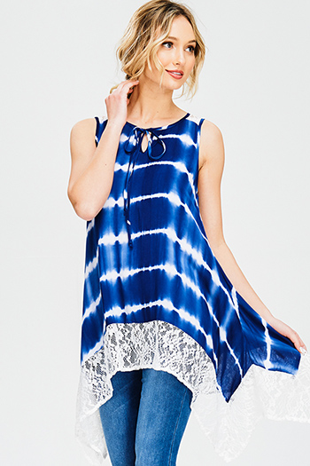 $15 - Cute cheap backless bejeweled cocktail dress - navy blue tie dye sheer lace trim sleeveless boho tunic top mini dress