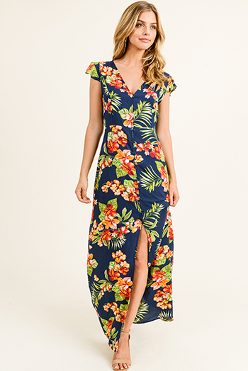 $20 - Cute cheap black floral print rayon gauze strapless boho resort romper playsuit jumpsuit - Navy blue tropical floral print button up tie back flutter cap sleeve slit boho maxi sun dress