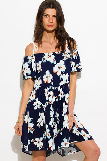 $15 - Cute cheap ruched jumpsuit - navy blue tropical floral print cold shoulder tassel spaghetti strap boho romper playsuit jumpsuit