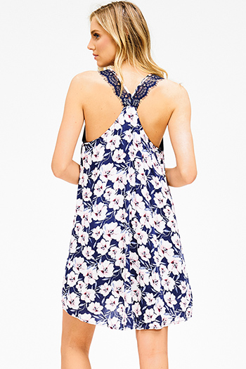 $15 - Cute cheap lace fitted cocktail dress - navy blue tropical floral print high low hem lace racer back boho mini sun dress