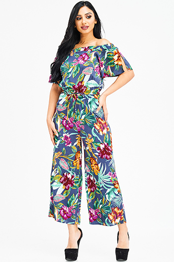 $20 - Cute cheap pocketed boho harem jumpsuit - navy blue tropical floral print off shoulder short sleeve tie waist boho resort wide leg jumpsuit
