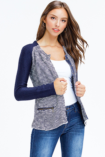 $12 - Cute cheap blue crochet top - navy blue two toned sweater knit tweed long sleeve button up blazer jacket top
