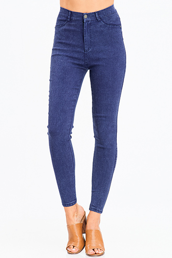 $12 - Cute cheap medium blue washed denim mid rise distressed ripped knee fitted skinny jeans - navy blue vintage wash denim ultra high waisted skinny jean legging jeggings