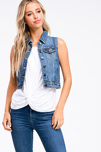 $15 - Cute cheap stripe asymmetrical top - Navy blue washed denim button up cropped jean vest top