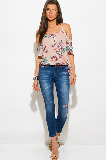 $20 - Cute cheap denim jeans - navy blue washed denim high waisted distressed ripped skinny fit ankle jeans