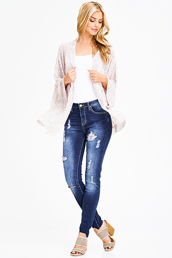 $20 - Cute cheap denim jeans - navy blue washed denim mid rise distressed cut out hem fitted skinny jeans