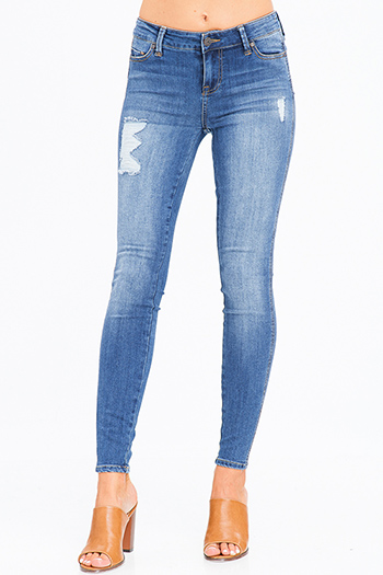 $20 - Cute cheap blue washed denim mid rise distressed ripped knee frayed hem fitted ankle skinny jeans - navy blue washed denim mid rise distressed frayed sculpt skinny jeans