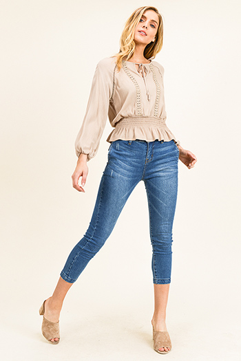 $15 - Cute cheap blue washed denim mid rise distressed destroyed chewed hem ankle fit skinny jeans - Navy blue washed denim mid rise side bias pocketed capri cropped fitted skinny jeans