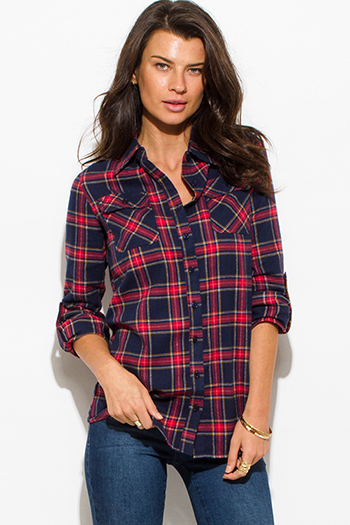 $15 - Cute cheap slit blouson sleeve blouse - navy blue wine red plaid flannel long sleeve button up blouse top