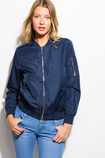 $15.00 - Cute cheap black zip up stripe banded crop bomber jacket - navy blue zip up pocketed long sleeve bomber jacket