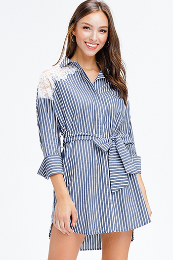 $20 - Cute cheap open back sexy party mini dress - navy charcoal grey striped sheer lace long sleeve tie waist button up shirt dress