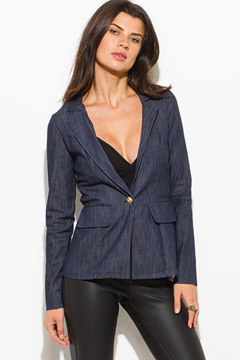 $15 - Cute cheap dark blue denim ripped distressed mid rise fitted skinny jeans - navy denim blue long sleeve single button fitted jacket suiting blazer top