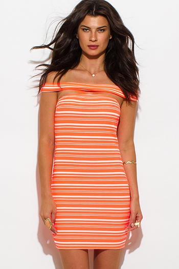 $8 - Cute cheap ruched fitted bodycon dress - neon coral orange striped textured off shoulder strapless bodycon mini sexy club dress
