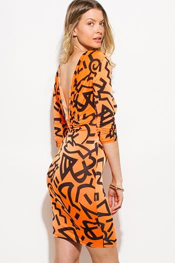 $15 - Cute cheap caged backless fitted dress - neon orange abstract print quarter sleeve draped open back bodycon fitted sexy club mini dress