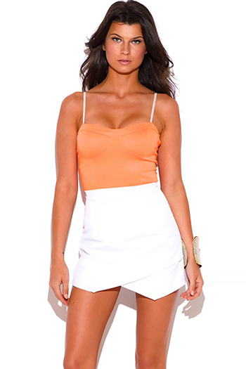 $15 - Cute cheap khaki tan beige ribbed knit bandage bodycon fitted sexy club mini skirt - neon orange and white bustier 2fer fitted bodycon clubbing romper mini dress