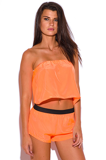 $3 - Cute cheap print strapless crop top - neon orange strapless backless crepe tube crop top