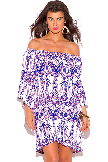 $15 - Cute cheap print crochet dress - neon pink and purple damask print off shoulder bell sleeve boho sun dress