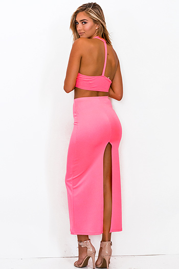 $7 - Cute cheap charcoal gray and neon pink high neck crop top - neon pink bodycon high waisted slit maxi skirt