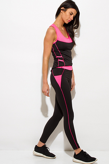 $15 - Cute cheap black sheer pants - neon pink waist band color block black fitness yoga leggings pants